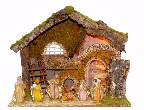 Picture of Nativity Set Holy Family 8 Pieces with Landscape cm 12 (47 inch) Euromarchi Nativity Village with Lights