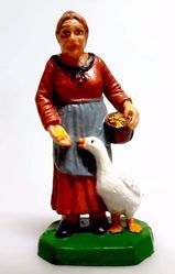 Picture of Woman with Goose cm 6 (2,4 inch) Pellegrini Nativity Scene small size Statue Bright Colors plastic PVC traditional Arabic indoor outdoor use