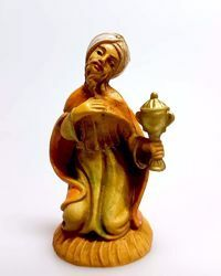 Picture of Melchior Saracen Wise King cm 6 (2,4 inch) Pellegrini Nativity Scene small size Statue Wood Stained plastic PVC traditional Arabic indoor outdoor use