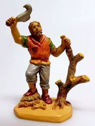Picture of Lumberjack cm 6 (2,4 inch) Pellegrini Nativity Scene small size Statue Wood Stained plastic PVC traditional Arabic indoor outdoor use