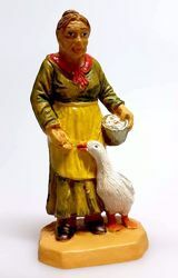 Picture of Woman with Goose cm 6 (2,4 inch) Pellegrini Nativity Scene small size Statue Wood Stained plastic PVC traditional Arabic indoor outdoor use