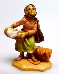 Picture of Woman with Cloths cm 6 (2,4 inch) Pellegrini Nativity Scene small size Statue Wood Stained plastic PVC traditional Arabic indoor outdoor use