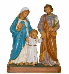Picture of Holy Family cm 18 (7,1 inch) Euromarchi block Nativity Scene Lecce style in wood stained plastic PVC for outdoor use