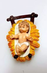 Picture of Baby Jesus in Cradle cm 8 (3,1 inch) Pellegrini Nativity Scene small size Statue Bright Colors plastic PVC traditional Arabic indoor outdoor use