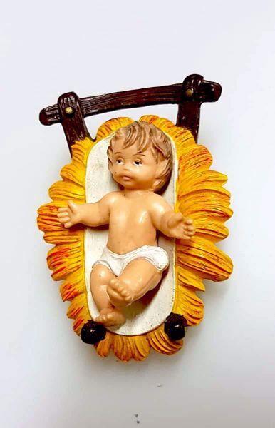 Picture of Baby Jesus in Cradle cm 8 (3,1 inch) Pellegrini Nativity Scene small size Statue Bright Colors plastic PVC traditional Arabic indoor outdoor use