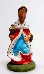 Picture of Caspar White Wise King cm 8 (3,1 inch) Pellegrini Nativity Scene small size Statue Bright Colors plastic PVC traditional Arabic indoor outdoor use