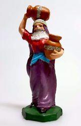 Immagine di Donna Araba con Anfore cm 8 (3,1 inch) Presepe Pellegrini Colorato Statua in plastica PVC Arabo tradizionale piccolo per interno esterno