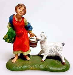Picture of Woman with goat cm 8 (3,1 inch) Pellegrini Nativity Scene small size Statue Bright Colors plastic PVC traditional Arabic indoor outdoor use