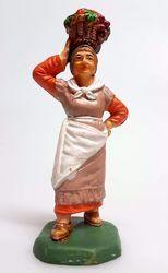 Immagine di Donna con Frutta cm 8 (3,1 inch) Presepe Pellegrini Colorato Statua in plastica PVC Arabo tradizionale piccolo per interno esterno
