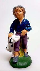 Immagine di Pastore con Cane cm 8 (3,1 inch) Presepe Pellegrini Colorato Statua in plastica PVC Arabo tradizionale piccolo per interno esterno