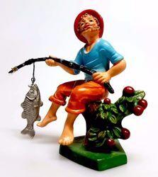 Immagine di Pescatore cm 8 (3,1 inch) Presepe Pellegrini Colorato Statua in plastica PVC Arabo tradizionale piccolo per interno esterno