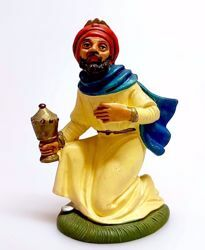 Picture of Melchior Saracen Wise King cm 10 (3,9 inch) Pellegrini Nativity Scene small size Statue Bright Colors plastic PVC traditional Arabic indoor outdoor use
