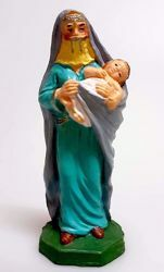 Picture of Arabic Woman With Child cm 10 (3,9 inch) Pellegrini Nativity Scene small size Statue Bright Colors plastic PVC traditional Arabic indoor outdoor use