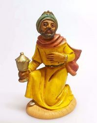 Picture of Melchior Saracen Wise King cm 10 (3,9 inch) Pellegrini Nativity Scene small size Statue Wood Stained plastic PVC traditional Arabic indoor outdoor use