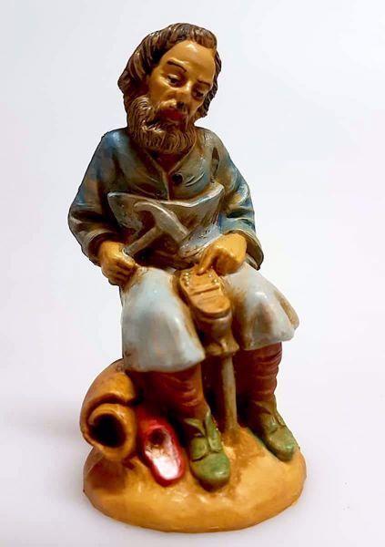 Imagen de Zapatero cm 10 (3,9 inch) Belén Pellegrini Estatua en plástico PVC árabe tradicional pequeño Efecto Madera para uso en interior exterior