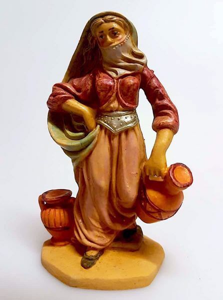 Imagen de Mujer árabe con ánforas cm 10 (3,9 inch) Belén Pellegrini Estatua en plástico PVC árabe tradicional pequeño Efecto Madera para uso en interior exterior