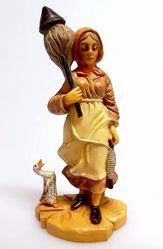 Picture of Woman Spinning cm 10 (3,9 inch) Pellegrini Nativity Scene small size Statue Wood Stained plastic PVC traditional Arabic indoor outdoor use