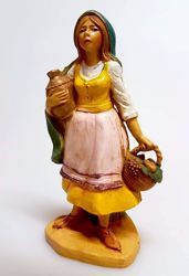 Picture of Woman with amphora and basket cm 10 (3,9 inch) Pellegrini Nativity Scene small size Statue Wood Stained plastic PVC traditional Arabic indoor outdoor use