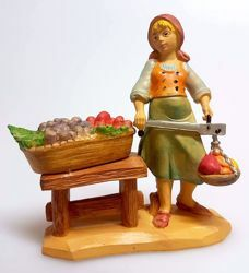 Picture of Woman with Fruit cm 10 (3,9 inch) Pellegrini Nativity Scene small size Statue Wood Stained plastic PVC traditional Arabic indoor outdoor use