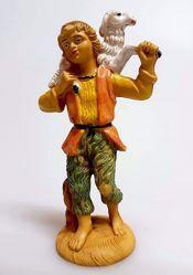 Immagine di Pastore con Pecora sulle spalle cm 10 (3,9 inch) Presepe Pellegrini Tinto Legno Statua in plastica PVC Arabo tradizionale piccolo per interno esterno