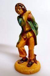 Imagen de Pastor con Bolsa cm 10 (3,9 inch) Belén Pellegrini Estatua en plástico PVC árabe tradicional pequeño Efecto Madera para uso en interior exterior