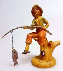 Imagen de Pescador cm 10 (3,9 inch) Belén Pellegrini Estatua en plástico PVC árabe tradicional pequeño Efecto Madera para uso en interior exterior