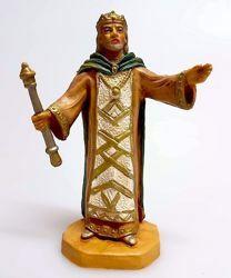 Imagen de Rey Herodes cm 10 (3,9 inch) Belén Pellegrini Estatua en plástico PVC árabe tradicional pequeño Efecto Madera para uso en interior exterior