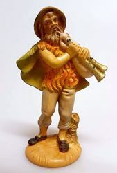 Immagine di Zampognaro cm 10 (3,9 inch) Presepe Pellegrini Tinto Legno Statua in plastica PVC Arabo tradizionale piccolo per interno esterno