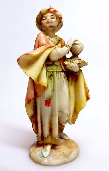 Immagine di Baldassarre Re Magio Moro cm 11 (4,3 inch) Presepe Pellegrini effetto Porcellana Statua in plastica PVC Arabo tradizionale piccolo per interno esterno