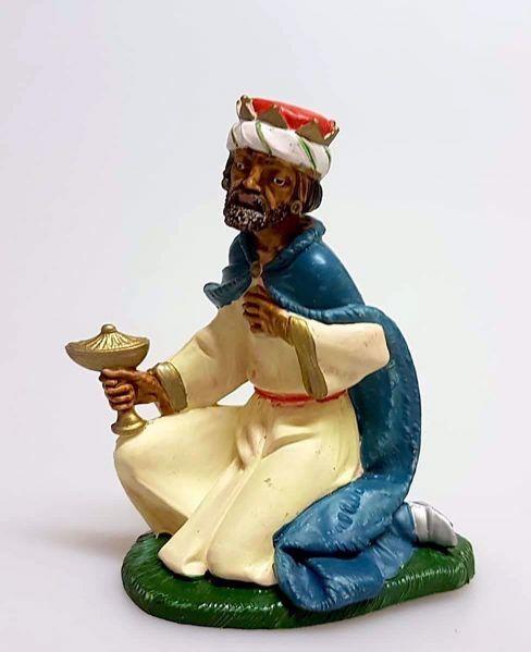 Immagine di Melchiorre Re Magio Mulatto cm 11 (4,3 inch) Presepe Pellegrini Colorato Statua in plastica PVC Arabo tradizionale piccolo per interno esterno