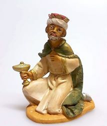 Picture of Melchior Saracen Wise King cm 11 (4,3 inch) Pellegrini Nativity Scene small size Statue Wood Stained plastic PVC traditional Arabic indoor outdoor use