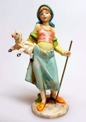 Picture of Woman with stick cm 11 (4,3 inch) Pellegrini Nativity Scene small size Statue in Porcelain stained plastic PVC traditional Arabic indoor outdoor use
