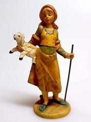 Picture of Woman with stick cm 11 (4,3 inch) Pellegrini Nativity Scene small size Statue Wood Stained plastic PVC traditional Arabic indoor outdoor use