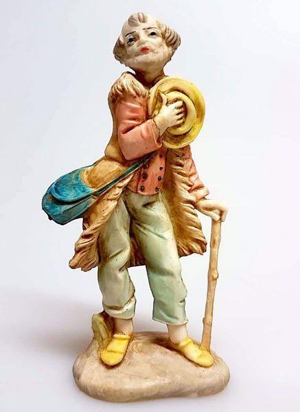 Immagine di Pastore con Bastone cm 11 (4,3 inch) Presepe Pellegrini effetto Porcellana Statua in plastica PVC Arabo tradizionale piccolo per interno esterno