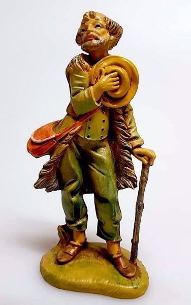 Immagine di Pastore con Bastone cm 11 (4,3 inch) Presepe Pellegrini Tinto Legno Statua in plastica PVC Arabo tradizionale piccolo per interno esterno