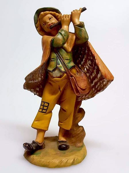 Picture of Shepherd with Flute cm 11 (4,3 inch) Pellegrini Nativity Scene small size Statue Wood Stained plastic PVC traditional Arabic indoor outdoor use