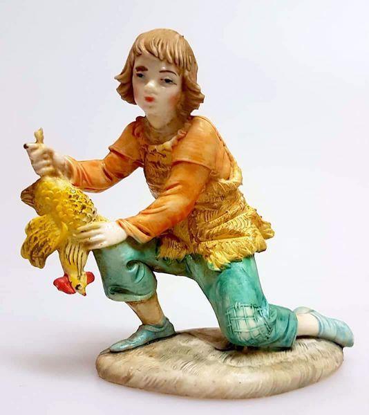 Immagine di Pastore con Gallina cm 11 (4,3 inch) Presepe Pellegrini effetto Porcellana Statua in plastica PVC Arabo tradizionale piccolo per interno esterno
