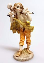 Picture of Shepherd with Sheep on his Shoulders cm 11 (4,3 inch) Pellegrini Nativity Scene small size Statue in Porcelain stained plastic PVC traditional Arabic indoor outdoor use
