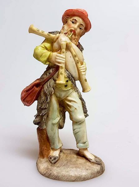 Picture of Bagpiper cm 11 (4,3 inch) Pellegrini Nativity Scene small size Statue in Porcelain stained plastic PVC traditional Arabic indoor outdoor use
