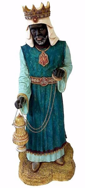 Picture of Balthazar Black Wise King cm 110 (43,3 inch) Pellegrini Nativity Scene large size Statue in Oxolite Resin indoor outdoor use traditional Arabic