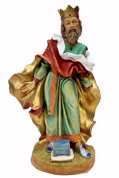 Immagine di Gaspare Re Magio Bianco cm 50 (19,7 inch) Presepe Pellegrini in Resina Oxolite Arabo tradizionale Statua grande per interno esterno