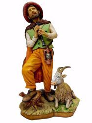 Picture of Shepherd with Flute and Goat cm 50 (19,7 inch) Pellegrini Nativity Scene large size Statue in Oxolite Resin indoor outdoor use traditional Arabic