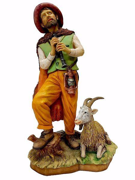 Immagine di Pastore con Piffero e Capra cm 50 (19,7 inch) Presepe Pellegrini in Resina Oxolite Arabo tradizionale Statua grande per interno esterno
