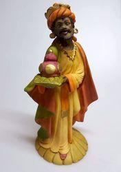 Immagine di Baldassarre Re Magio Moro cm 30 (11,8 inch) Presepe Pellegrini in Resina Oxolite Arabo tradizionale Statua grande per interno esterno