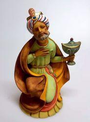Immagine di Melchiorre Re Magio Mulatto cm 30 (11,8 inch) Presepe Pellegrini in Resina Oxolite Arabo tradizionale Statua grande per interno esterno