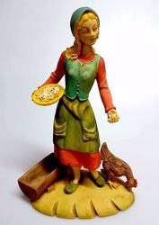 Imagen de Mujer con Gallina cm 30 (11,8 inch) Belén Pellegrini árabe tradicional Estatua grande en Resina Oxolite  uso en interior exterior
