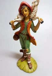 Imagen de Pastor con Oveja sobre los Hombros cm 30 (11,8 inch) Belén Pellegrini árabe tradicional Estatua grande en Resina Oxolite  uso en interior exterior