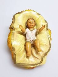 Picture of Baby Jesus in Cradle cm 20 (7,9 inch) Pellegrini Nativity Scene small size Statue Wood Stained plastic PVC traditional Arabic indoor outdoor use