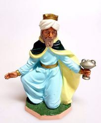 Picture of Melchior Saracen Wise King cm 20 (7,9 inch) Pellegrini Nativity Scene small size Statue Bright Colors plastic PVC traditional Arabic indoor outdoor use
