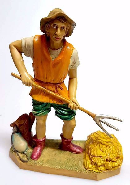 Immagine di Contadino cm 20 (7,9 inch) Presepe Pellegrini Tinto Legno Statua in plastica PVC Arabo tradizionale piccolo per interno esterno